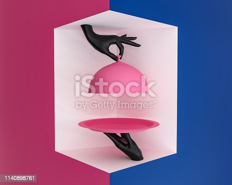 istock Platter with lid holding hands, opened restaurant cloche, something preparing concept promo banner. 3d rendering 1140898761
