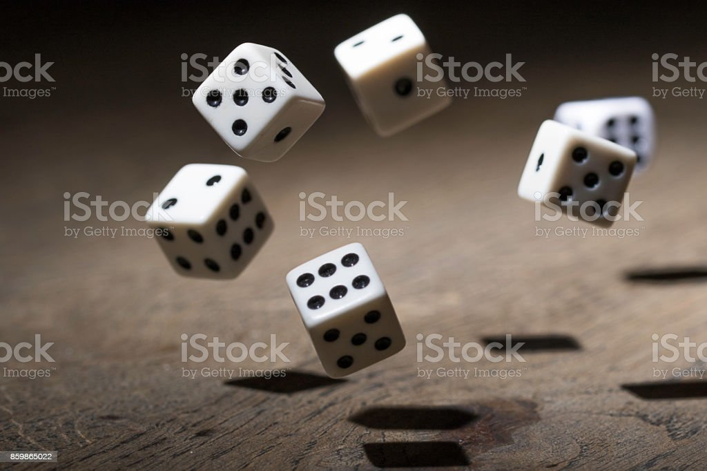 Play a game with dice stock photo