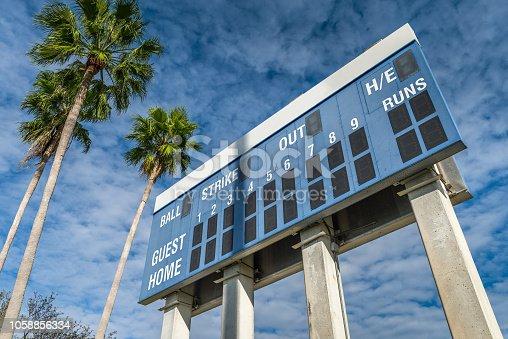 Baseball scoreboard in a public park.