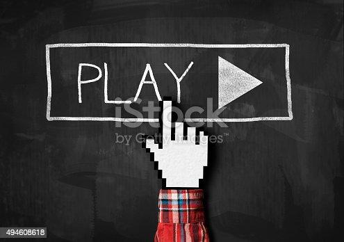 istock Play button / blackboard concept (Click for more) 494608618