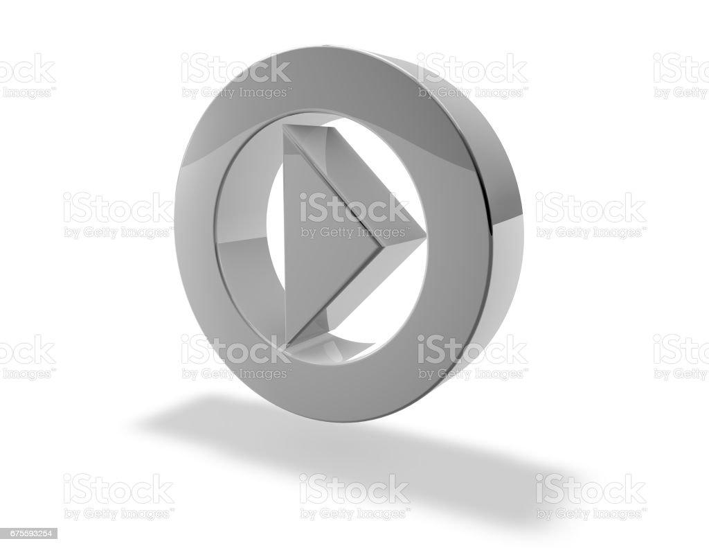 Jugar 3D ilustración de botón símbolo gris, brillante. - foto de stock
