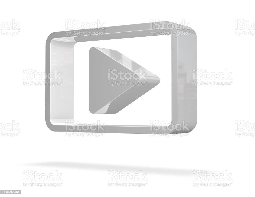 Botón de reproducir 3D aislado sobre fondo blanco. - foto de stock