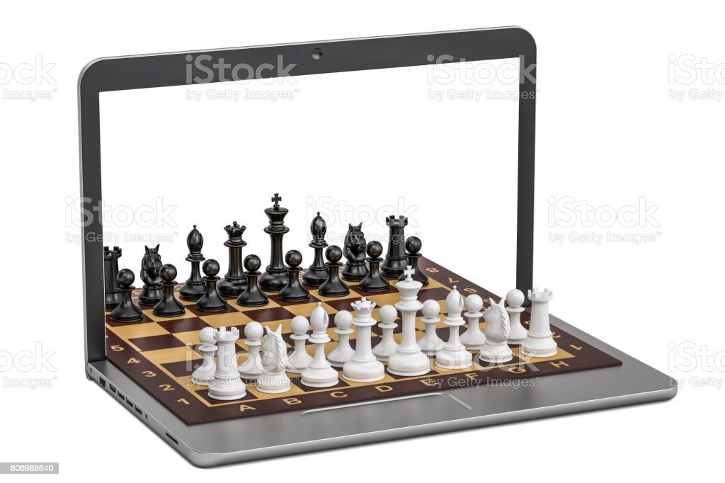 Play Chess online concept, 3D rendering isolated on  white background stock photo
