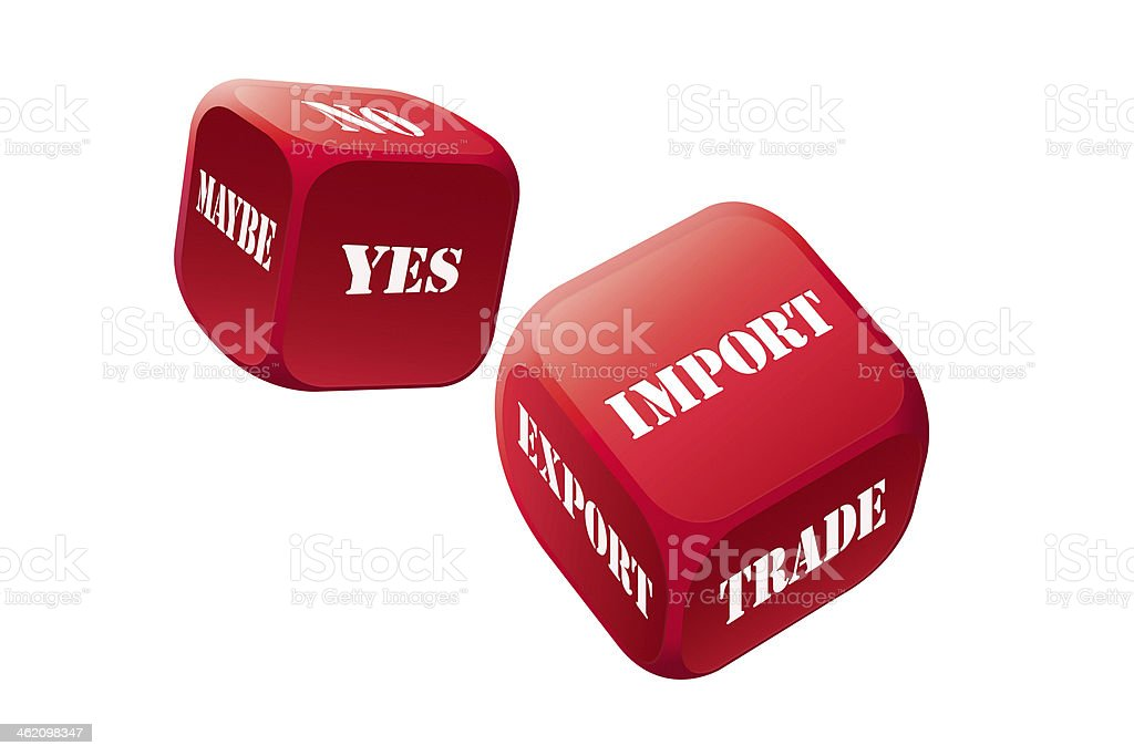 Play dice game with trade stock photo