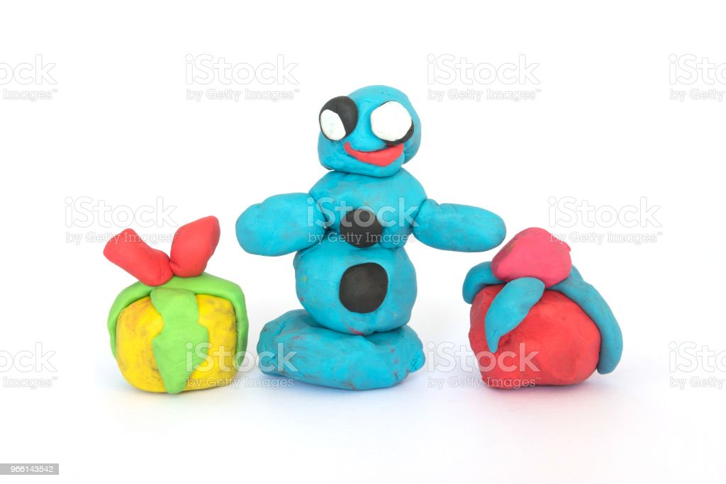 play doh sculpture of Santa Claus on white background - Royalty-free Art Stock Photo