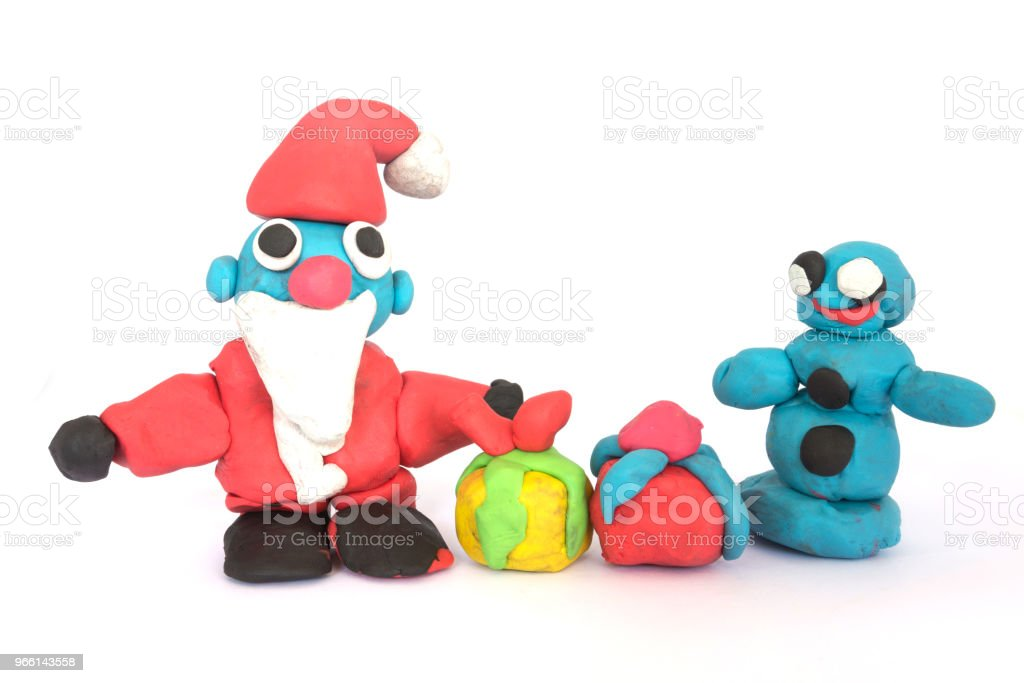 play doh sculpture of Santa Claus on white background - Foto stock royalty-free di Albero