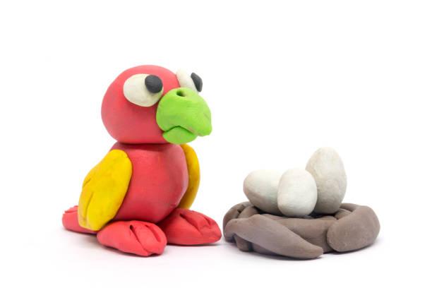 Play dough Bird on white background stock photo