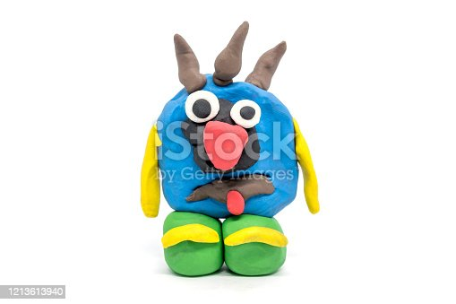 Play dough monster on white background