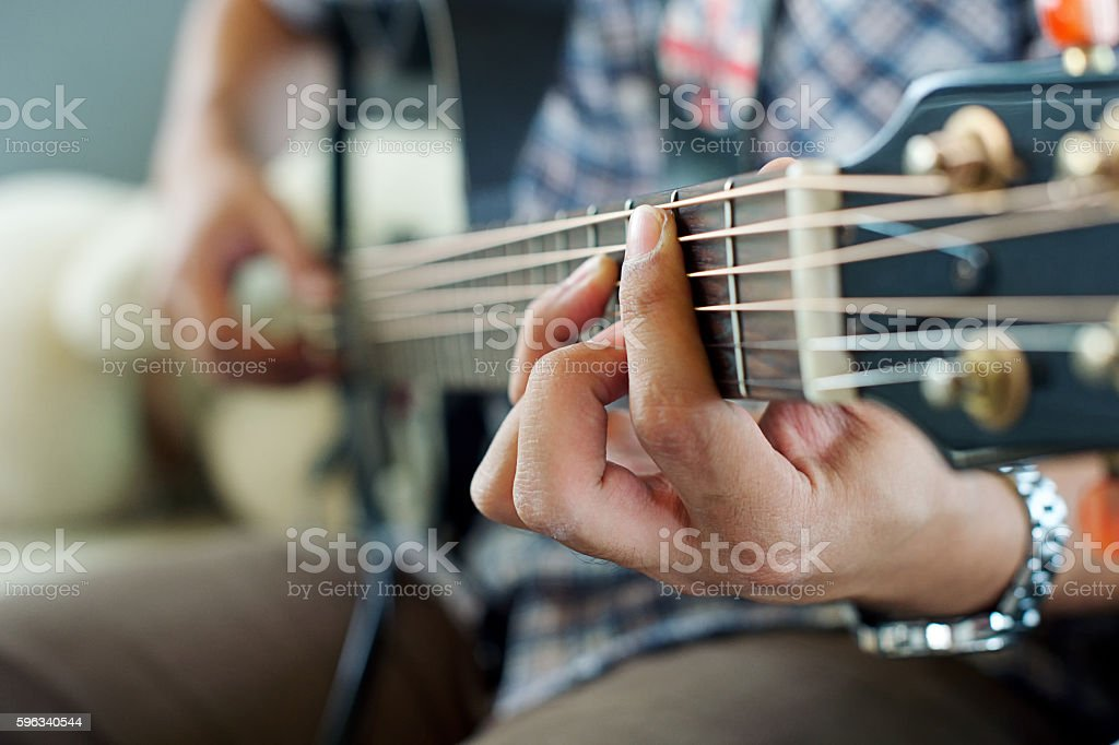play electric guitar. stock photo
