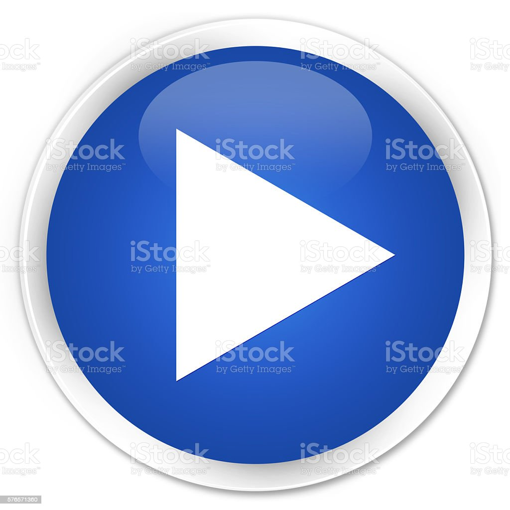 Play icon blue glossy round button stock photo