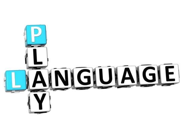 3d spiel sprache kreuzworträtsel - kreuzworträtsel lexikon stock-fotos und bilder