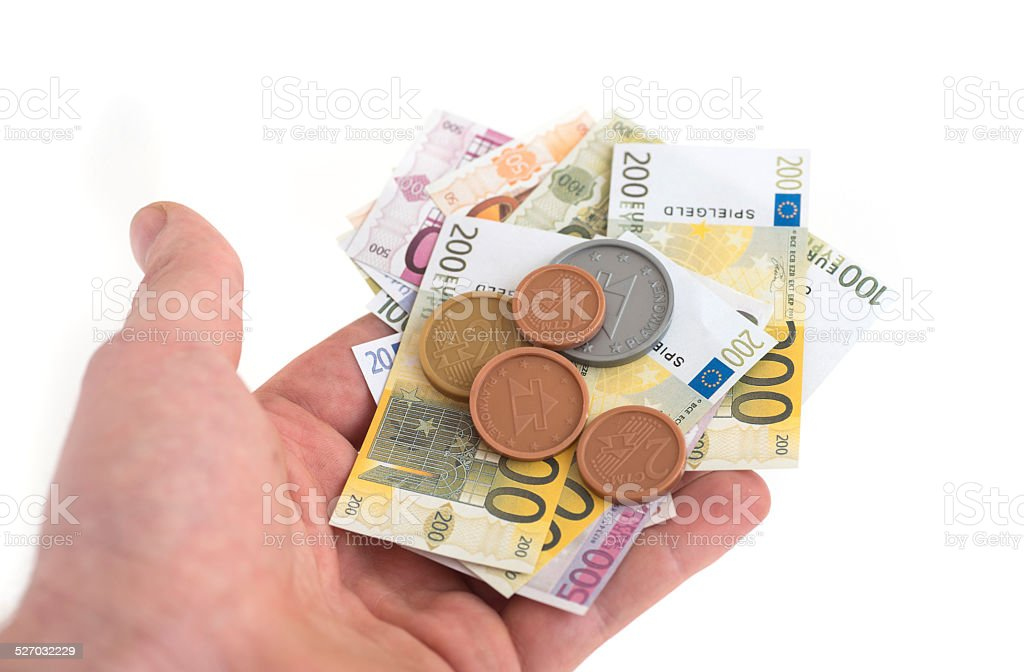 play money in human hand - Spielgeld Euros stock photo