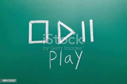 istock play sign drawn with chalk on blackboard 489430557
