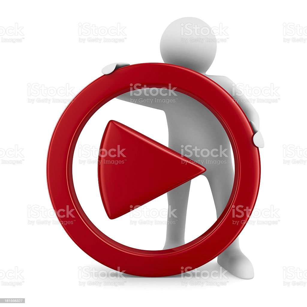play sign on white background. Isolated 3D image stock photo