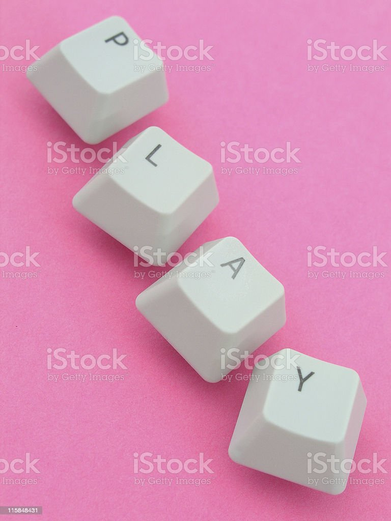 'Play' spelled out with keyboard keys royalty-free stock photo