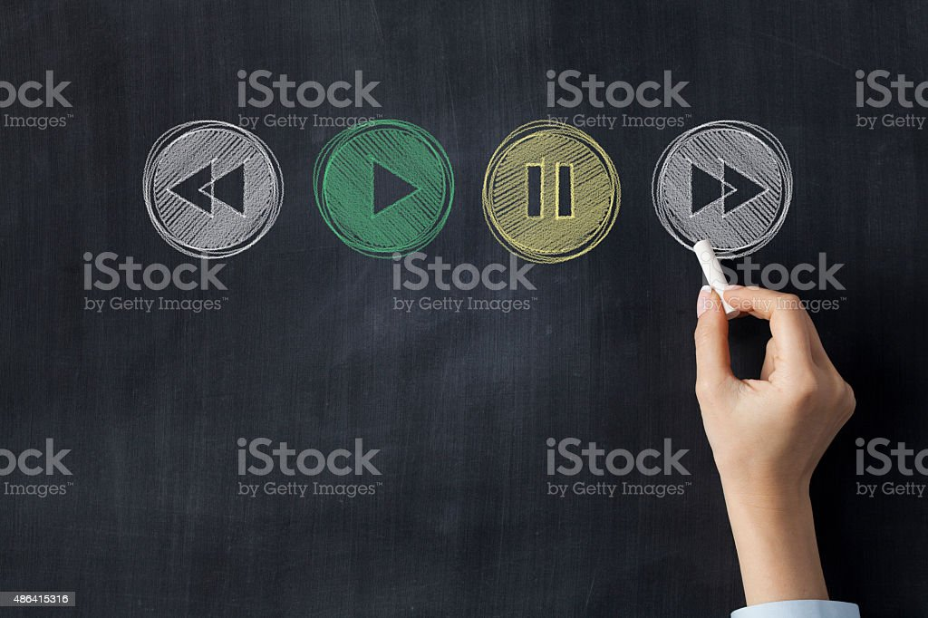 Play stop and rewind icons on blackboard stock photo