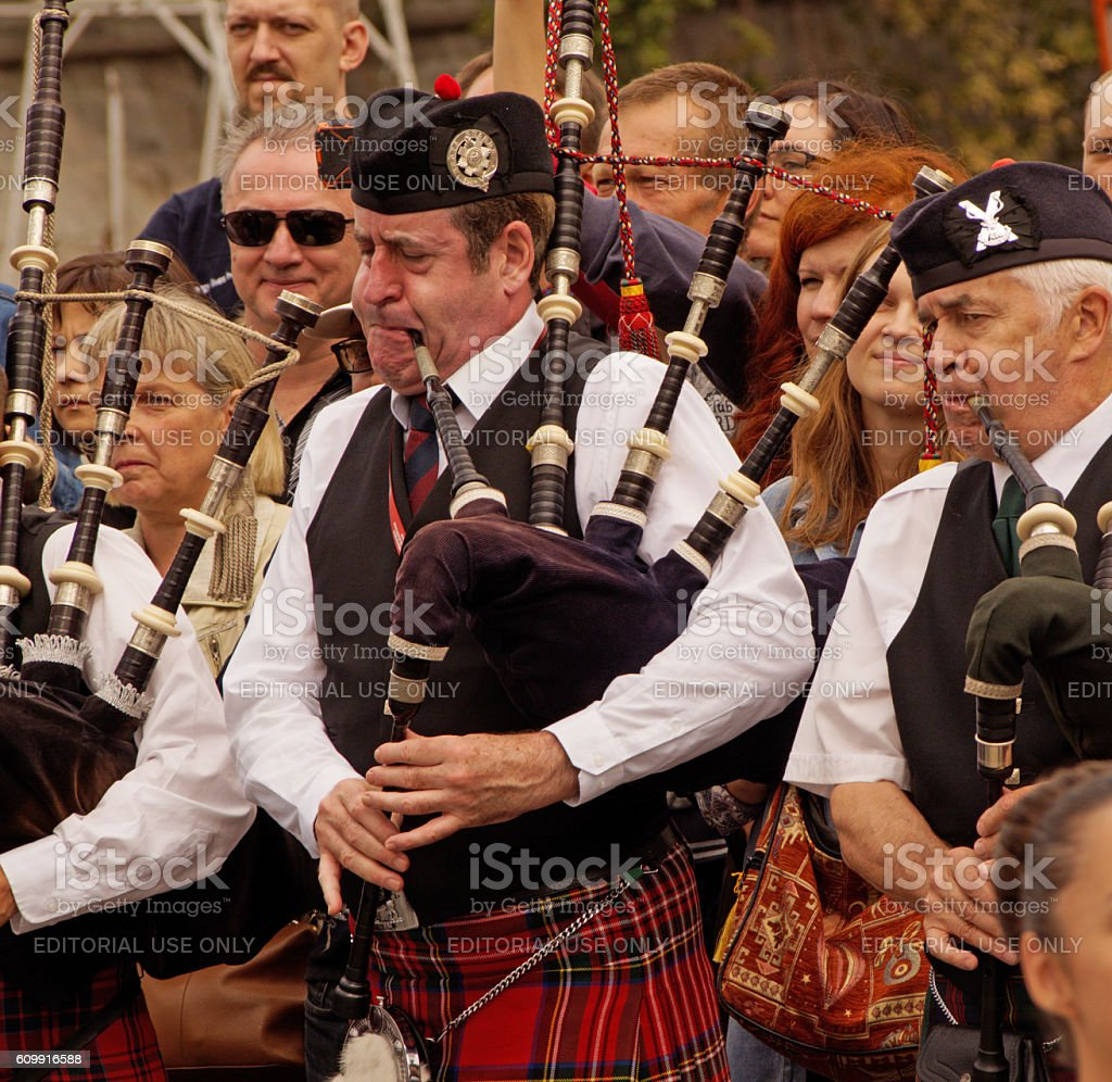 Play the bagpipes stock photo
