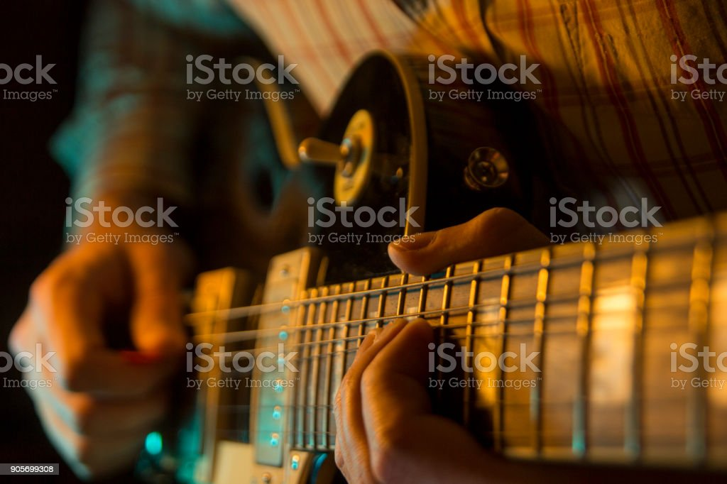 Play the electic guitar, close up stock photo