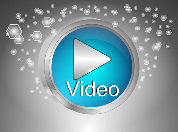 Play video Button - 3D illustration stock photo