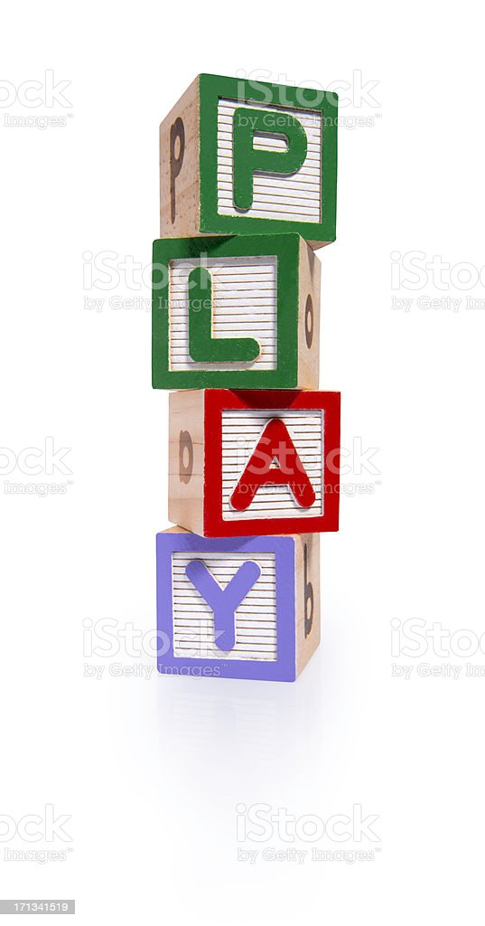Play wooden blocks cube (clipping paths) royalty-free stock photo