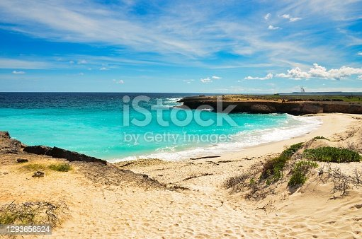 beautiful beach on the caribbean island of bonaire, good snorkel and dive site on the island. enjoy the relaxation in the sand by the sea