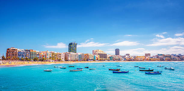 Playa De Las Canteras in Las Palmas de Gran Canaria stock photo