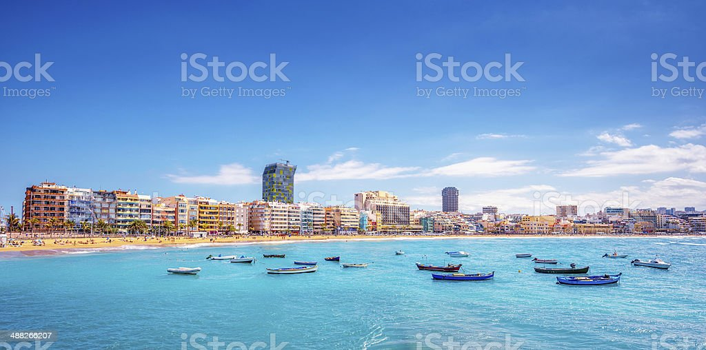 Playa De Las Canteras in Las Palmas de Gran Canaria stock photo