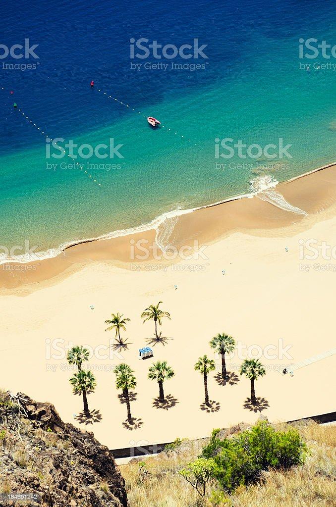 Playa de Las Teresitas - Aerial view stock photo