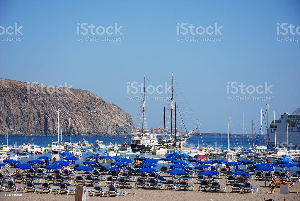 playa de los christianos with boats, Tenerife, Canary Islands royalty-free stock photo