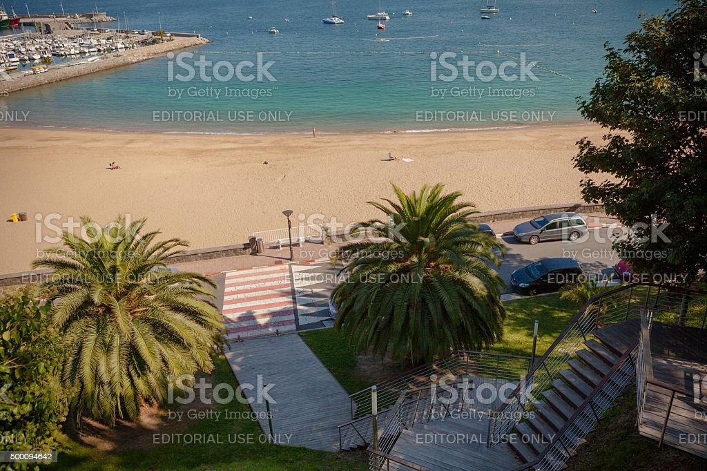 Playa de Malkorbe пляж и яхт в Getaria стоковое фото