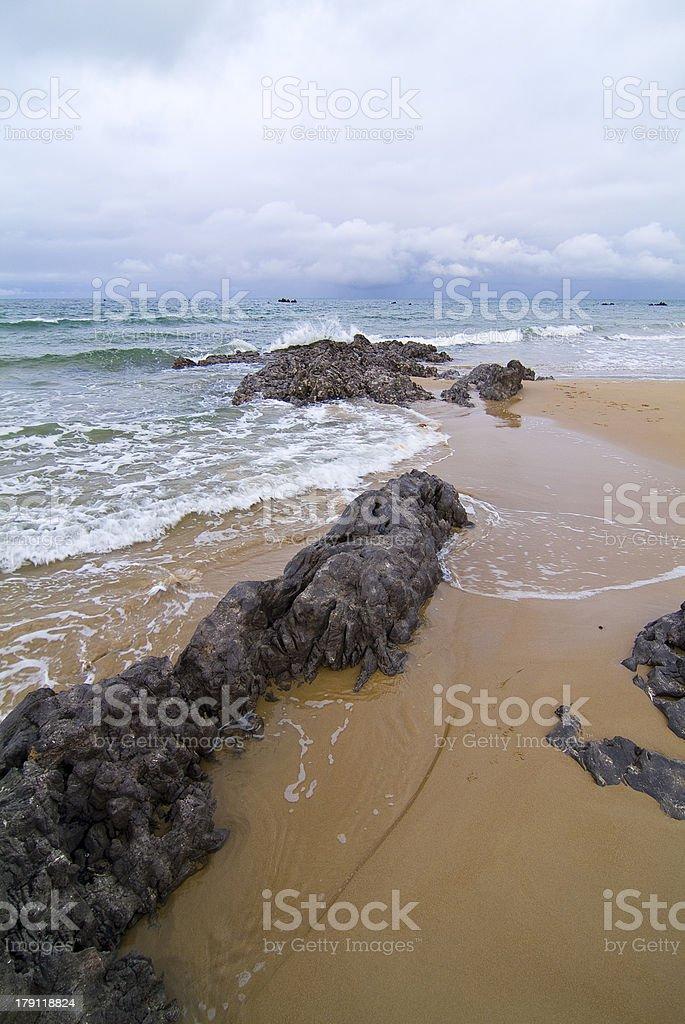 Playa de Trengandin, Noja. Cantabria. España. royalty-free stock photo