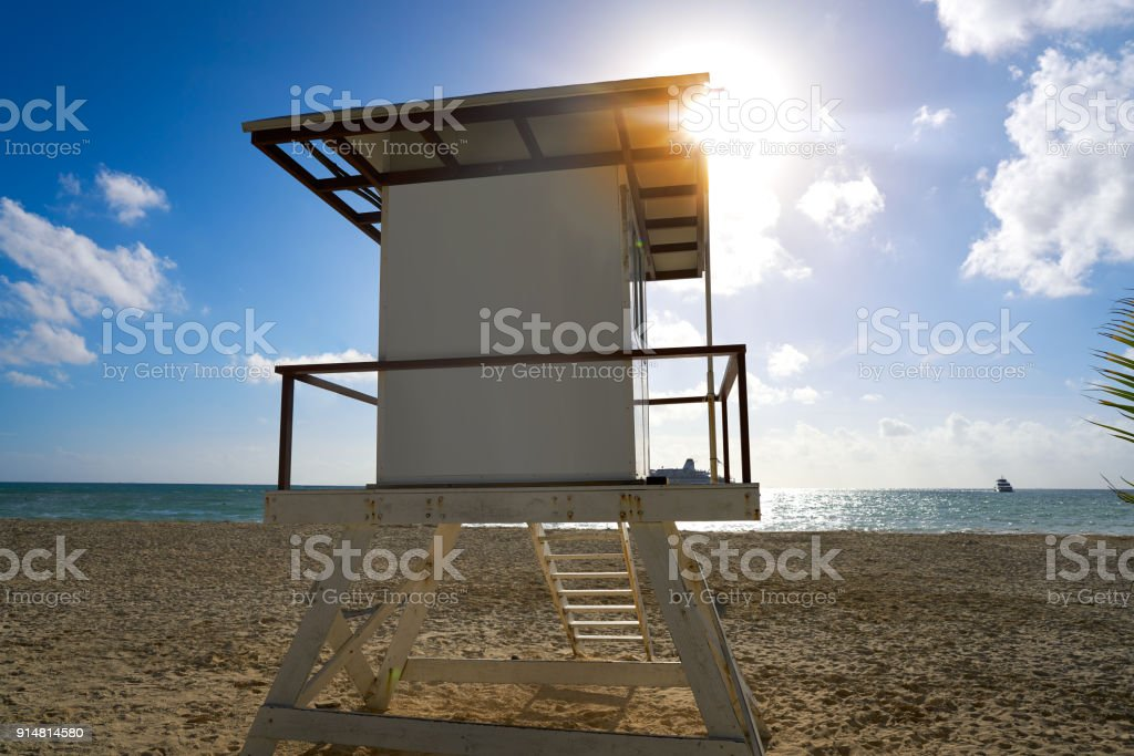 Playa del Carmen beach baywatch tower stock photo