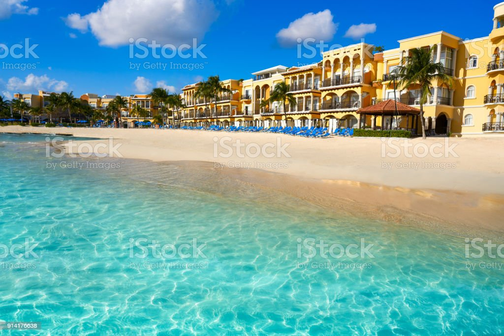 Playa del Carmen beach in Riviera Maya stock photo