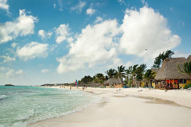 playa del carmen beach, mayan riviera hotels near cancun, mexico - playa del carmen stock photos and pictures