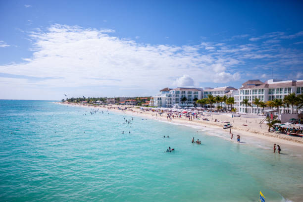 Playa Del Carmen beach with tourists, Mexico stock photo