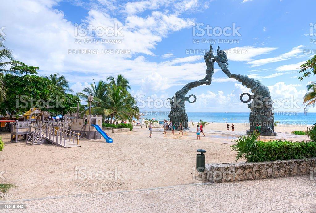 Playa del Carmen beachfront and playground stock photo