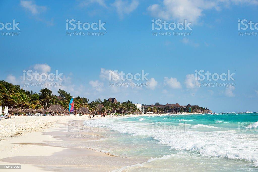 Playa Del Carmen Caribbean Beach on Mayan Riviera, Cancun, Mexico stock photo