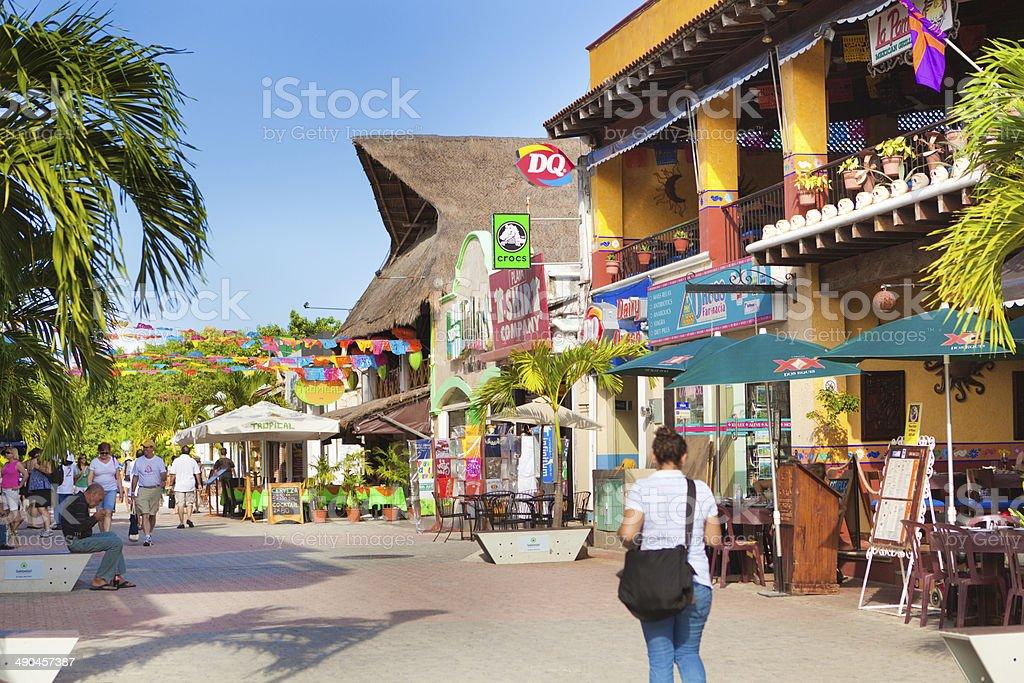 Playa Del Carmen Tourist District, Mayan Riviera, Mexico Shops, Restaurants stock photo