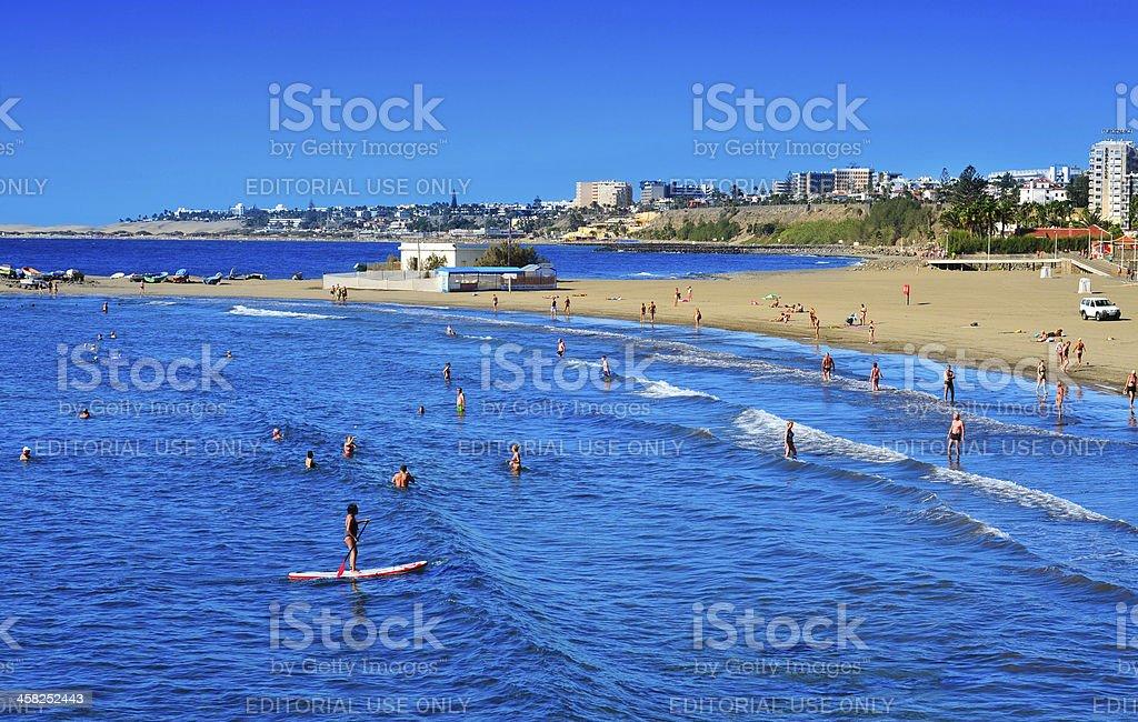 Playa del Ingles coastline in Maspalomas, Gran Canaria stock photo