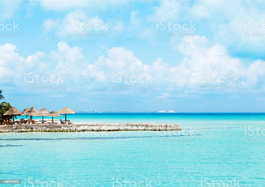 Playa Del Norte on Isla Mujeres Across from Cancun Mexico stock photo
