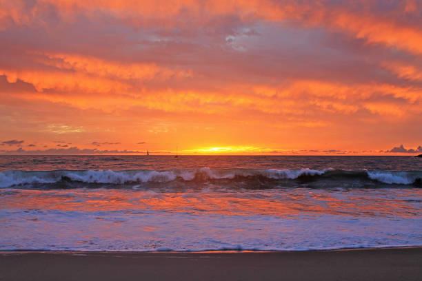 Playa Del Rey Sunset Red 2015 stock photo