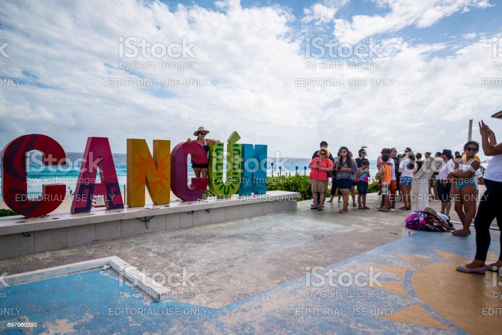 Playa Delfines Beach in Cancun, Mexico stock photo