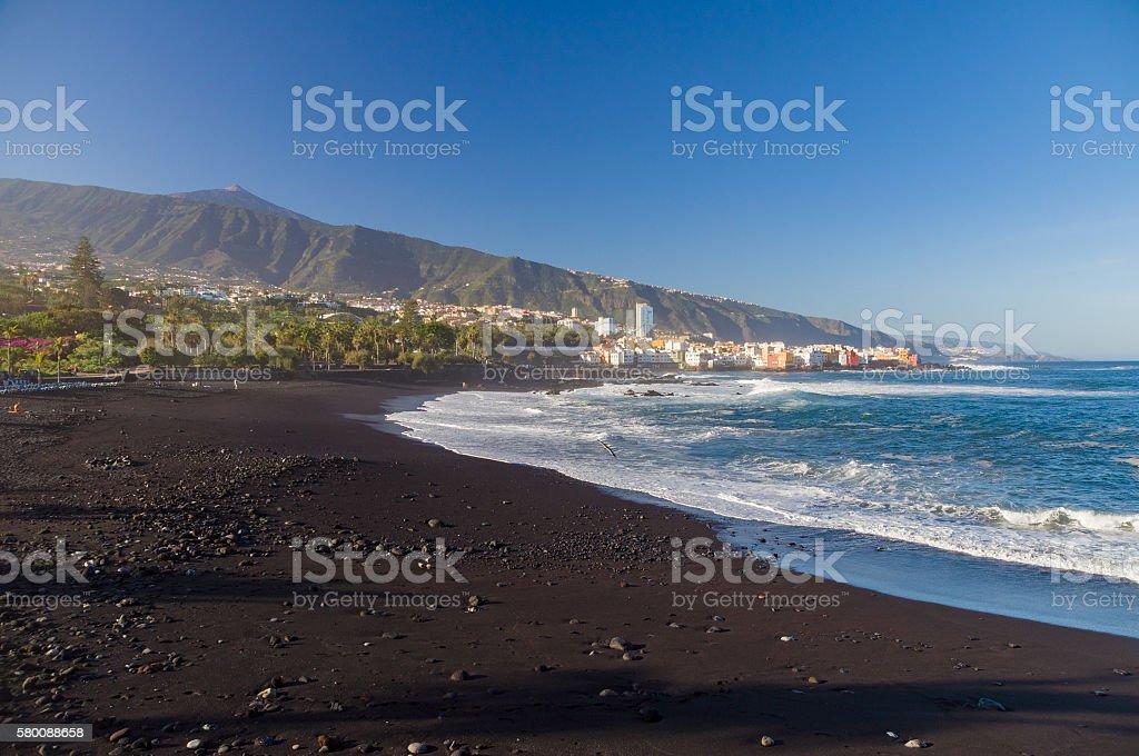 Playa Jardin beach against El Teide volcano stock photo