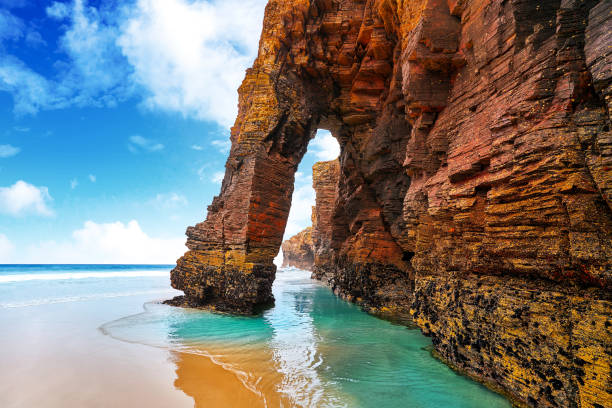 Playa Las Cathedrals Cathedral beach in Galicia Spain stock photo