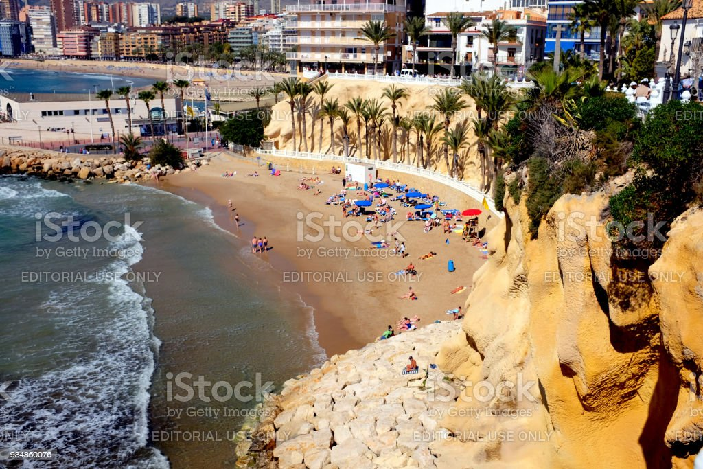 Playa Mal Pas, Benidorm, Spain. stock photo