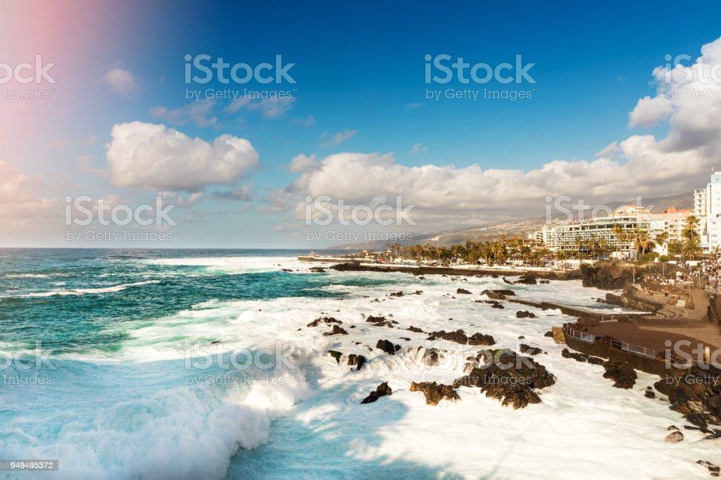 playa San Telmo in Puerto de la Cruz. Tenerife stock photo