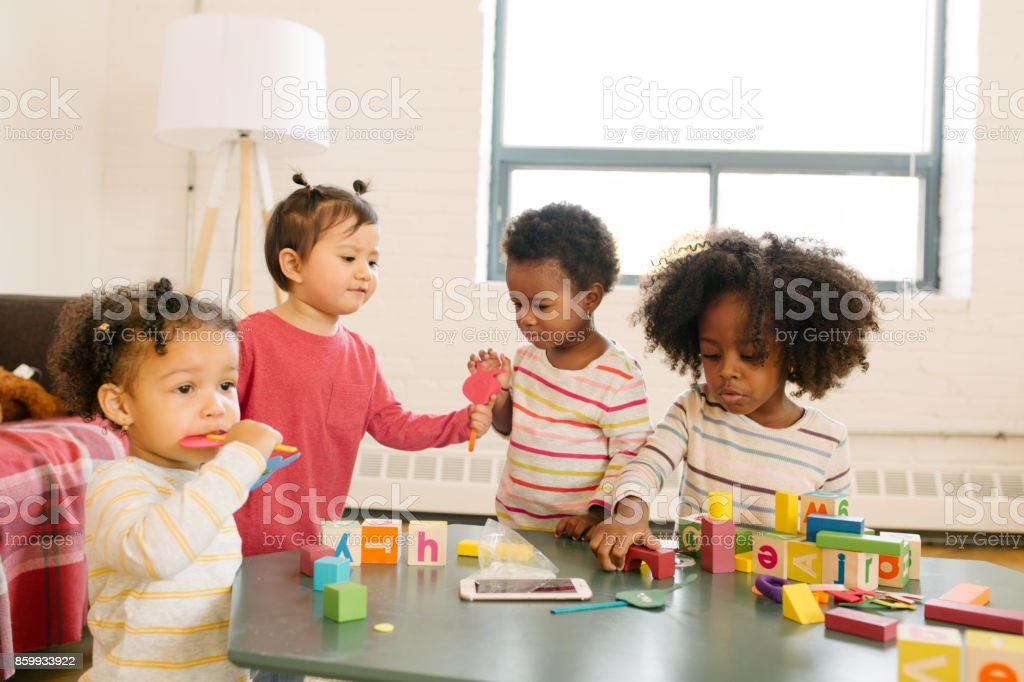 Playdate for toddlers stock photo
