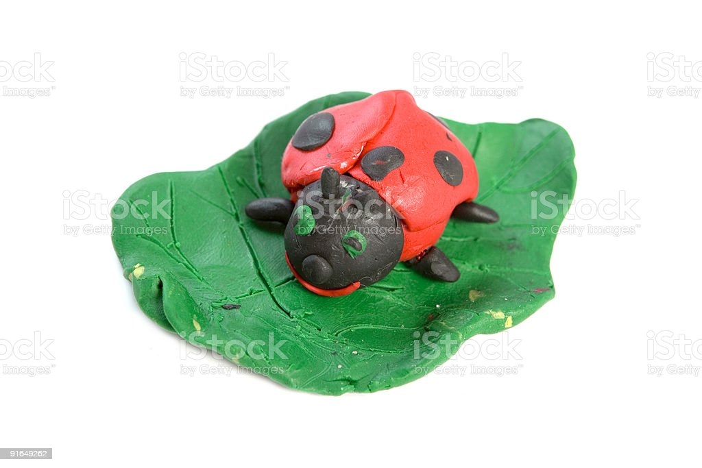 playdough ladybug on the leaf royalty-free stock photo