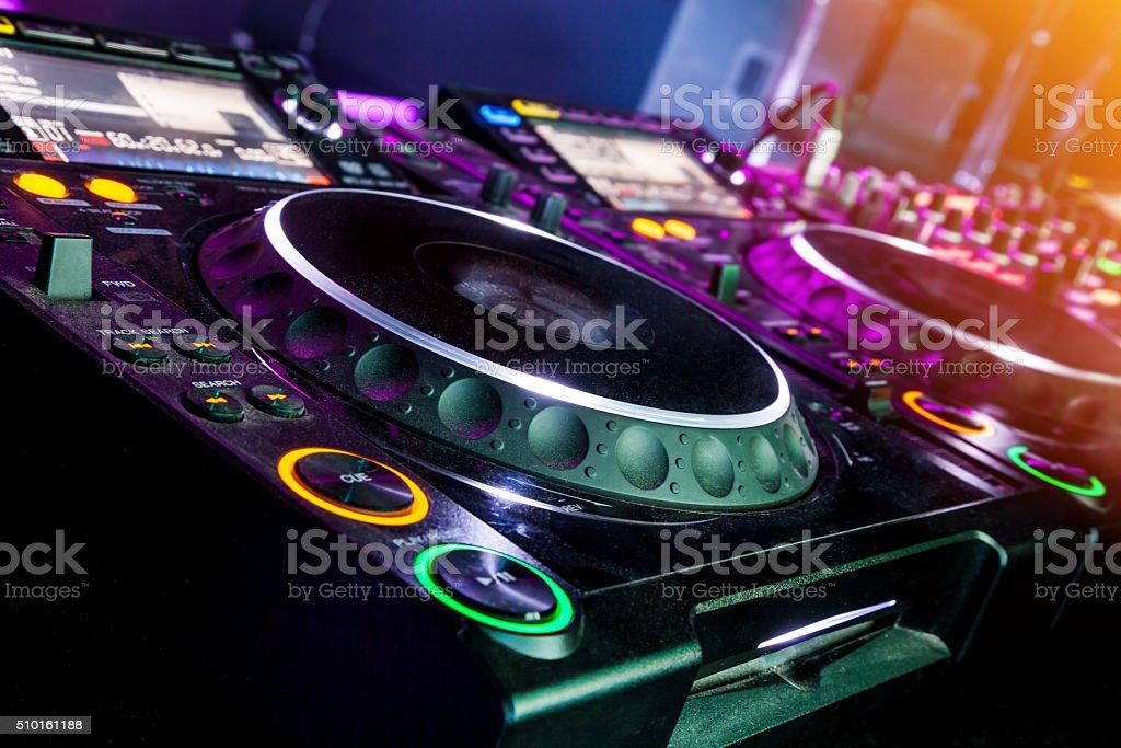 DJ CD player and mixer stock photo