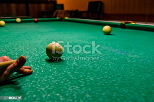 istock Player arm with the cue and balls on the green cloth. Russian billiard 1024506746